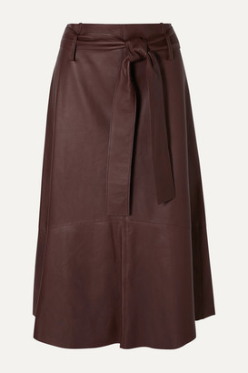 Vince Belted Leather Midi Skirt - Brown