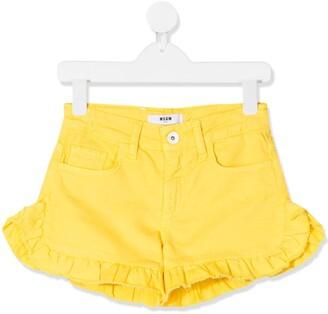 Msgm Kids Ruffle Trim Casual Shorts