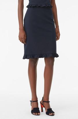 Rebecca Taylor Tailored Ruffle Suiting Skirt