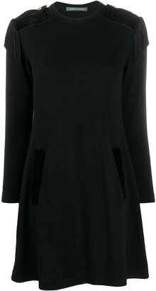 Alberta Ferretti Fringe Applique Shift Dress