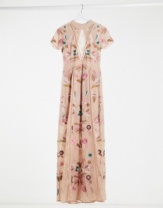 Frock and Frill all over embroided maxi dress with lace insert in dusky pink