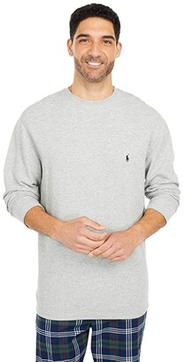 Polo Ralph Lauren Big Midweight Waffle Long Sleeve Crew (White/Cruise Navy Pony Player) Men's Pajama