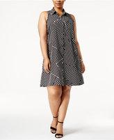 Alfani Plus Size Printed Trapeze Shirtdress, Created for Macy's