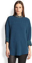 3.1 Phillip Lim Beaded-Collar Dolman-Sleeved Crepe Tunic
