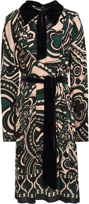 Anna Sui Pussy-bow Velvet-trimmed Printed Crepe Dress