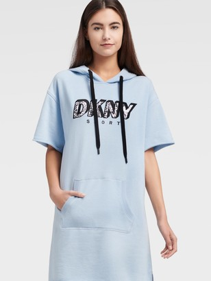 DKNY Women's Cropped Sleeve Sneaker Dress With Snake Print Logo - Iceberg - Size S