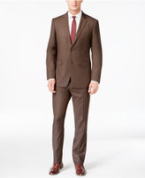 Perry Ellis Portfolio Slim-Fit Brown Sharkskin Suit