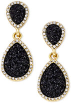 INC International Concepts Gold-Tone Jet Glitter Teardrop Drop Earrings, Only at Macy's