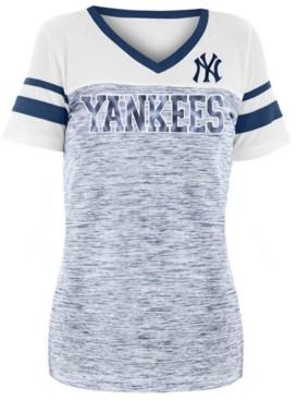 5th & Ocean Women's New York Yankees Space Dye Sequin T-Shirt