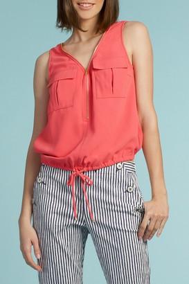 Trina Turk Karmandy Patch Pocket Zip Front Top