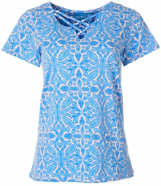 Caribbean Joe Women's Criss Cross Stretch Cotton Shirt