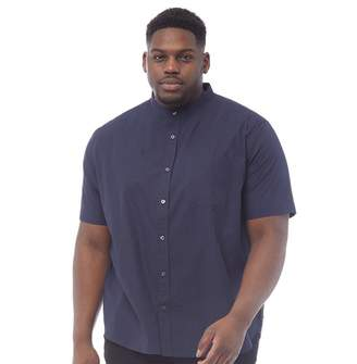 French Connection Mens Plus Size Plain Henley Short Sleeve Shirt Marine