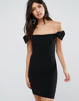 Oh My Love Off The Shoulder Mini Dress With Bow