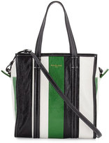 Balenciaga Bazar Small Striped Leather Shopper Tote Bag, Green/White/Black
