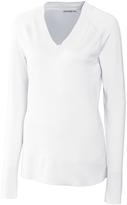 Cutter & Buck White Meridian V-Neck Sweater