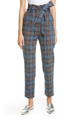 Veronica Beard Clerence Plaid Tweed High Waist Crop Paperbag Waist Pants