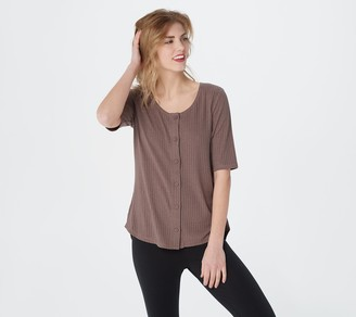 AnyBody Cozy Kind Elbow Sleeve Button Front Scoop Neck Top