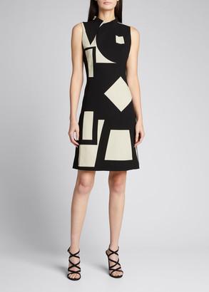 Akris Geometric Print Wool Sheath Dress