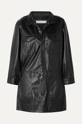Frame Leather Mini Dress - Black