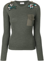 RED Valentino floral patches ribbed jumper