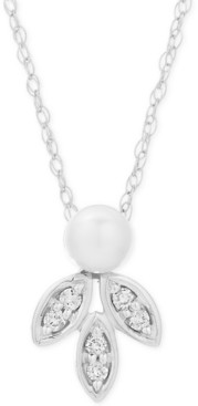"""Elsie May Freshwater Pearl (8-9mm) & Diamond (1/20 ct. t.w.) 16"""" Pendant Necklace in Sterling Silver"""