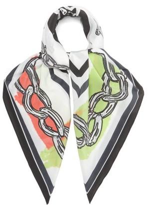 Matty Bovan - Chain-print Silk Crepe De Chine Scarf - White