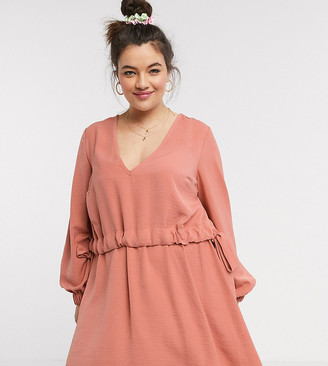 Asos DESIGN Curve v neck ruched waist chuck on mini dress with long sleeves in rust