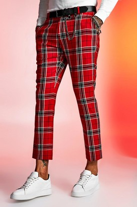 boohoo Mens Red Large Scale Tartan Cropped Smart Trouser, Red