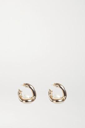 Rosantica Gold-tone Faux Pearl Hoop Earrings - one size