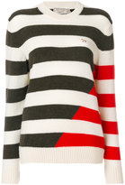 MAISON KITSUNÉ crew neck striped jumper - women - Lambs Wool - S