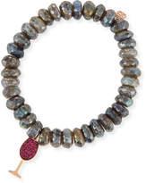 Sydney Evan 10mm Labradorite Beaded Bracelet with Ruby Wine Glass Charm