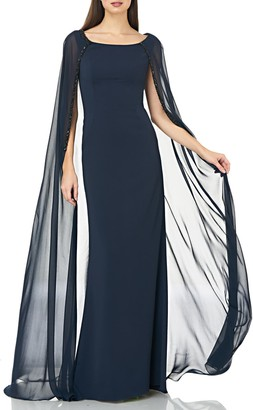 Carmen Marc Valvo Beaded Inset Caped Chiffon Gown