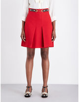 Gucci Pleated high-rise silk and wool-blend skirt