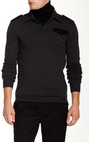 Ports 1961 Genuine Leather Trim Long Sleeve Collared Sweater