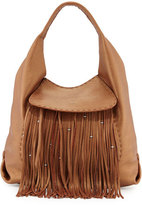 Henry Beguelin Canotta Leather Fringe Hobo Bag, Cognac