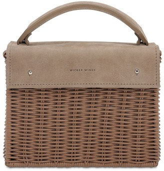 Wicker Wings Kuai Rattan & Suede Bag
