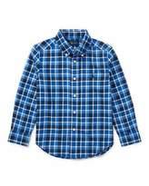 Ralph Lauren Twill Plaid Button-Down Shirt, Blue, Size 5-7