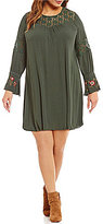 Blu Pepper Plus Lace Embroidered Bell Sleeve Dress