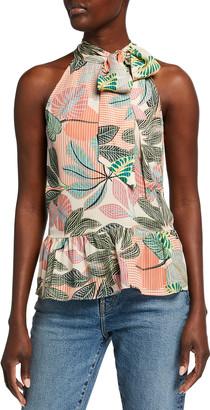 Parker Bianca Botanical-Print Halter Tie-Neck Top