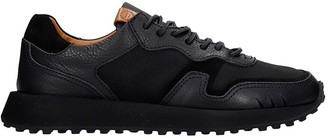 Buttero Sneakers In Black Leather And Fabric