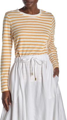 Donna Karan Woman Long Sleeve Crew Neck Stripe Top