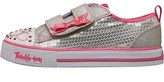 Skechers Infant Girls Twinkle Toes Shuffles Itsy Bitsy Sequin Low Trainers Silver