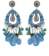 Ranjana Khan Blue Tear Drop Earrings With Tassels