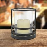 Stonebriar Collection Small Industrial Hurricane Candle Holder