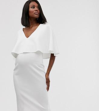 Asos Maternity   Nursing ASOS DESIGN Maternity Nursing cape double layer bodycon midi dress