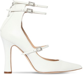 Alessandra Rich 105mm Mary Jane Leather Pumps