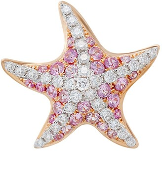 MIO Harutaka pink sapphire & diamond sea star earrings