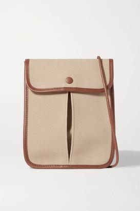 Hereu + Space For Giants Terra Leather-trimmed Organic Cotton Canvas Shoulder Bag - Beige