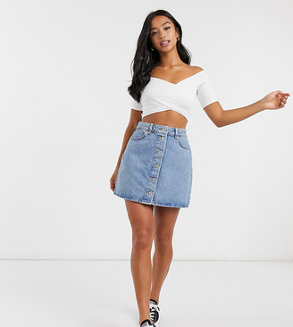 ASOS DESIGN Petite denim button-through skirt in blue