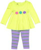 Kids Headquarters Lime Flower Tunic & Purple Leggings - Infant Toddler & Girls